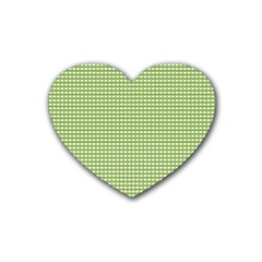 Gingham Check Plaid Fabric Pattern Heart Coaster (4 Pack)