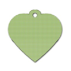 Gingham Check Plaid Fabric Pattern Dog Tag Heart (two Sides)