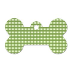 Gingham Check Plaid Fabric Pattern Dog Tag Bone (one Side)