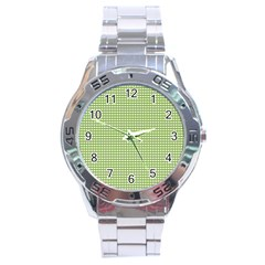 Gingham Check Plaid Fabric Pattern Stainless Steel Analogue Watch by Nexatart