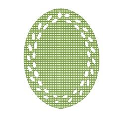 Gingham Check Plaid Fabric Pattern Ornament (oval Filigree)