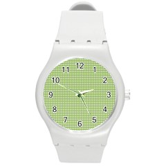 Gingham Check Plaid Fabric Pattern Round Plastic Sport Watch (m) by Nexatart
