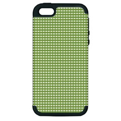 Gingham Check Plaid Fabric Pattern Apple Iphone 5 Hardshell Case (pc+silicone) by Nexatart