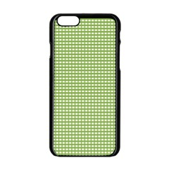 Gingham Check Plaid Fabric Pattern Apple Iphone 6/6s Black Enamel Case by Nexatart