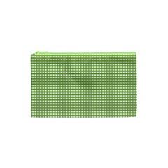 Gingham Check Plaid Fabric Pattern Cosmetic Bag (xs) by Nexatart