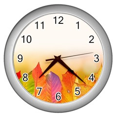 Autumn Leaves Colorful Fall Foliage Wall Clocks (silver)  by Nexatart