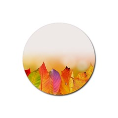 Autumn Leaves Colorful Fall Foliage Rubber Coaster (round)  by Nexatart