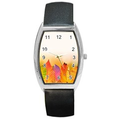 Autumn Leaves Colorful Fall Foliage Barrel Style Metal Watch by Nexatart