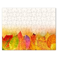 Autumn Leaves Colorful Fall Foliage Rectangular Jigsaw Puzzl