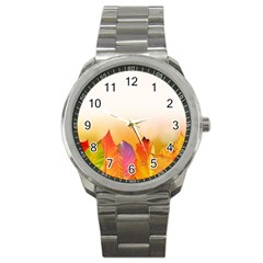 Autumn Leaves Colorful Fall Foliage Sport Metal Watch by Nexatart
