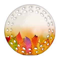 Autumn Leaves Colorful Fall Foliage Ornament (round Filigree) by Nexatart