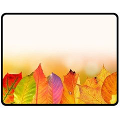 Autumn Leaves Colorful Fall Foliage Double Sided Fleece Blanket (medium)  by Nexatart