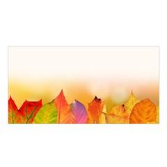 Autumn Leaves Colorful Fall Foliage Satin Shawl by Nexatart
