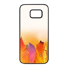 Autumn Leaves Colorful Fall Foliage Samsung Galaxy S7 Edge Black Seamless Case by Nexatart