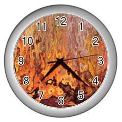 Background Texture Pattern Vintage Wall Clocks (silver)  by Nexatart