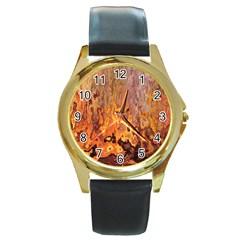 Background Texture Pattern Vintage Round Gold Metal Watch