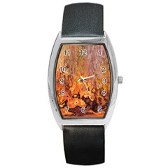 Background Texture Pattern Vintage Barrel Style Metal Watch by Nexatart