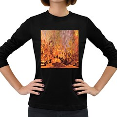 Background Texture Pattern Vintage Women s Long Sleeve Dark T Shirts