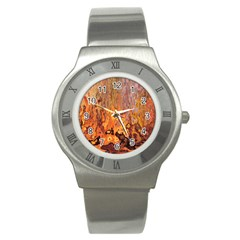 Background Texture Pattern Vintage Stainless Steel Watch by Nexatart