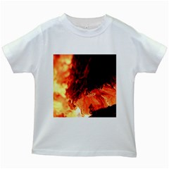 Fire Log Heat Texture Kids White T Shirts by Nexatart