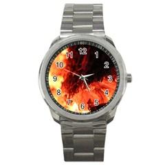 Fire Log Heat Texture Sport Metal Watch by Nexatart