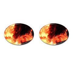 Fire Log Heat Texture Cufflinks (oval) by Nexatart