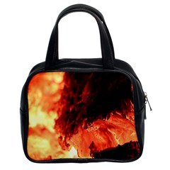 Fire Log Heat Texture Classic Handbags (2 Sides)
