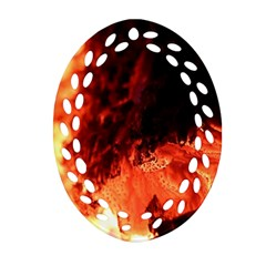 Fire Log Heat Texture Oval Filigree Ornament (two Sides) by Nexatart