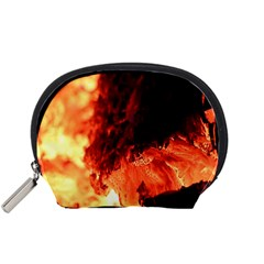 Fire Log Heat Texture Accessory Pouches (small)  by Nexatart