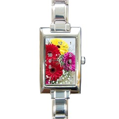 Flowers Gerbera Floral Spring Rectangle Italian Charm Watch by Nexatart