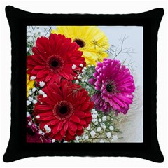 Flowers Gerbera Floral Spring Throw Pillow Case (black)