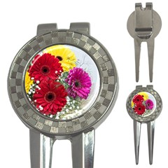 Flowers Gerbera Floral Spring 3 In 1 Golf Divots by Nexatart