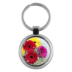 Flowers Gerbera Floral Spring Key Chains (round)