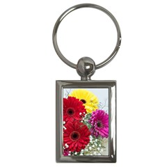 Flowers Gerbera Floral Spring Key Chains (rectangle)