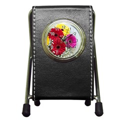 Flowers Gerbera Floral Spring Pen Holder Desk Clocks by Nexatart