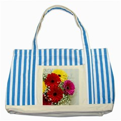 Flowers Gerbera Floral Spring Striped Blue Tote Bag by Nexatart