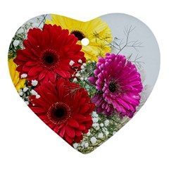 Flowers Gerbera Floral Spring Heart Ornament (two Sides) by Nexatart