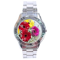 Flowers Gerbera Floral Spring Stainless Steel Analogue Watch by Nexatart