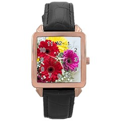 Flowers Gerbera Floral Spring Rose Gold Leather Watch  by Nexatart