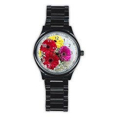 Flowers Gerbera Floral Spring Stainless Steel Round Watch