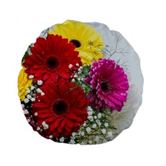 Flowers Gerbera Floral Spring Standard 15  Premium Flano Round Cushions