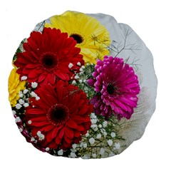 Flowers Gerbera Floral Spring Large 18  Premium Flano Round Cushions by Nexatart