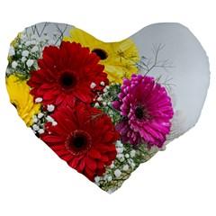 Flowers Gerbera Floral Spring Large 19  Premium Flano Heart Shape Cushions by Nexatart