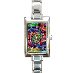 Eye Of The Rainbow Rectangle Italian Charm Watch by WolfepawFractals