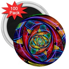 Eye Of The Rainbow 3  Magnets (100 Pack) by WolfepawFractals