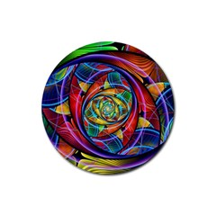 Eye Of The Rainbow Rubber Coaster (round)  by WolfepawFractals