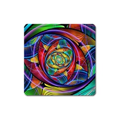 Eye Of The Rainbow Square Magnet by WolfepawFractals