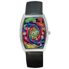 Eye Of The Rainbow Barrel Style Metal Watch by WolfepawFractals