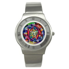 Eye Of The Rainbow Stainless Steel Watch by WolfepawFractals