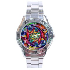 Eye Of The Rainbow Stainless Steel Analogue Watch by WolfepawFractals